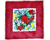 VINTAGE FLORAL HANKIE Mid-Century Colorful Mixed Abstract Bouquet Primary Colors Deep Border Garnet Red Hand Rolled Hem Excellent Condition