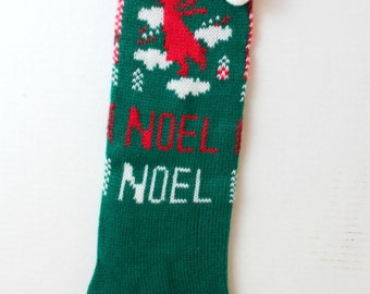 Vintage knitted noel angel christmas stocking green red