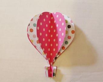 5 inch 3d balloon pink white polka dots orange green aqua teal