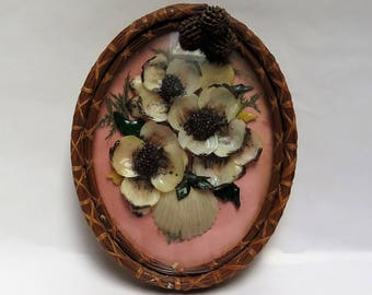 Antique Pine Needle Pink Shell Picture Frame -Shell flower picture