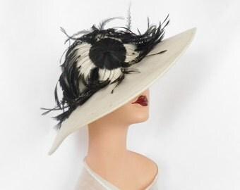 Womans vintage hat, white with black feathers, tilt picture hat