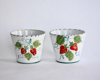 Vintage Pair of Italian Ceramic Strawberry Planters