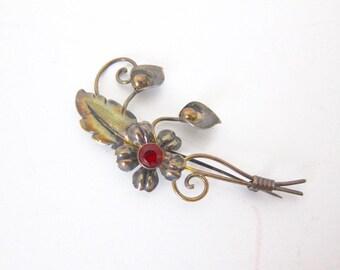 Van Dell Sterling Silver Flower Brooch Red Rhinestone Gold Filled  Birthday Gift B113