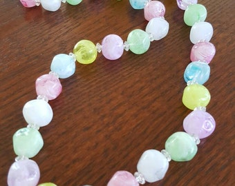 Vintage 1950s Marbelized Glass Beaded Necklace ~ Vintage Pastel Beaded Necklace