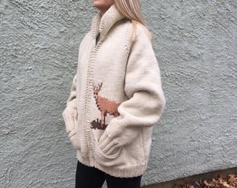 Vintage Cowichan hand knit Deer sweater jacket