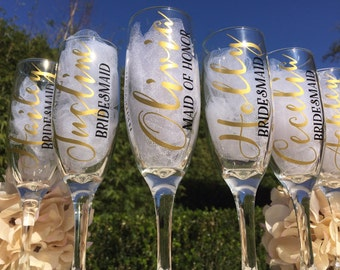 Set of 5, Personalized bridesmaid champagne glasses, personalized bridesmaid glasses, bridesmaid champagne flutes