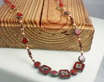 NECKLACE, FUN and VERSATILE with Red and Ivory on Red Leather