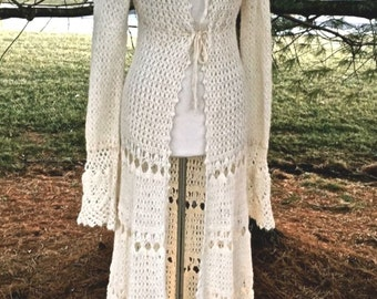 Free People Ivory Crochet Swing Bottom Maxi Sweater Duster Coat M, Bride, Boho, Christmas!  FREE U.S. SHIPPING!!