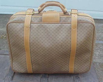 Vintage GUCCI Luggage, Suitcase, Carry-On Bag, Leather, Brass, Designer