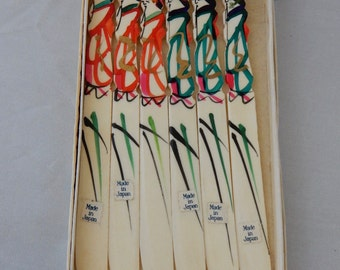 Vintage Japan Carved Geisha Hors d'Oeuvre  Knife Set   NV14