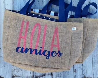 5+ Hola Amigos - Custom Destination Wedding Welcome Burlap Beach Tote Bags - Handmade in the USA