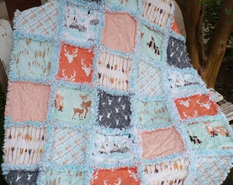 Baby Girl Crib Quilt Handmade Baby Quilt Modern Natural Hello Bear Woodland Forest Deer Indian Tribal Arrows Mint Peach Gray Ready to Ship