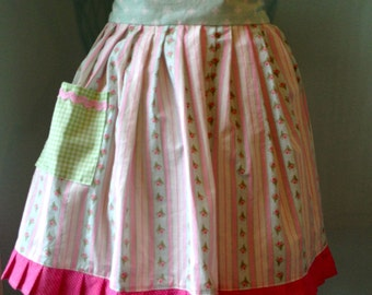 Child's Half Apron, Pinks, Green, and Mint