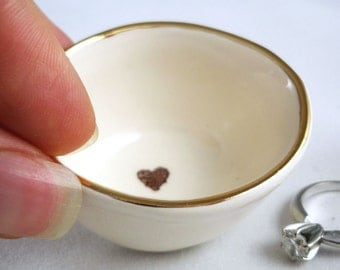 choose gold or silver, heart stamped on a white earthenware clay custom ring holder, with a gold luster rim - bridal shower gift, wedding