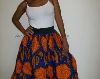 African Skirt Dreamcatcher's Ethic wax print skirt/ One of a Kind Women's Maxi / Tribal Print Skirt/ Maxi Skirt/ Orange Blue Maxi Skirt