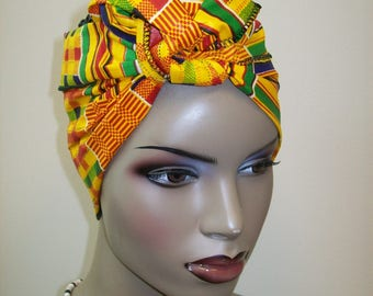 "9""x45"" inch Mini Kente Print Mini African Head Wrap, Head Band/ African Head Scarf / African headwraps/ Kids and Adults African Head Scarf"