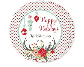 Christmas Mason Jar Labels Personalized with your Message- Antlers and Christmas Florals- Holidays Gift Tags- Cookies Favor Tags