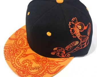 Year of Rooster Handpainted tattoo style contrast snapback