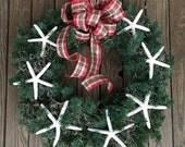 Evergreen Starfish Coastal Holiday Wreath