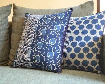 Floral Indigo Block Print Pillow Cover in Cotton , Blue Block Print Pillow Cover , 100% Cotton Block Print Cushion Cover , Decorative Pillow