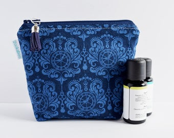 Oil Lover Gift - Essential Oil Pouch - Essential Oil Storage Bag - Essential Oil Travel Bag - Blue Zipper Pouch - Handmade by Zookaboo
