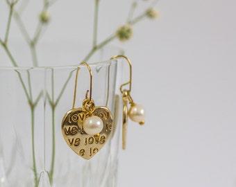 Gold Dangle Earrings, Heart Earrings, Heart Jewelry, Gold Pearl Earrings, Bohemian Chic Earrings, Valentines Day Gift, Gift For Her, Pearl