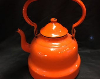 Vintage Enamel Bright Orange Teapot Made in Portugal Enamelware