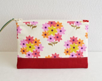 Retro floral fabric zipper pouch with linen in red - cosmetic pouch, pen case, zip closure