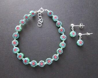 Dainty lampwork glass flowers bracelet and earrings set