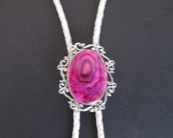 Pink paua shell bolo tie- pearl leather cord- fancy silver setting