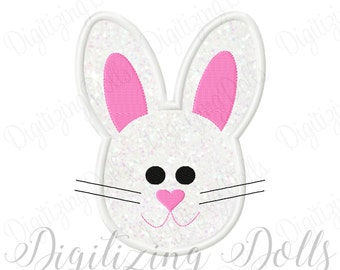Easter Bunny Head Applique Machine Embroidery Design 4x4 5x7 INSTANT DOWNLOAD