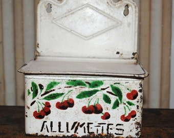 French tole MATCH Box RED CHERRIES