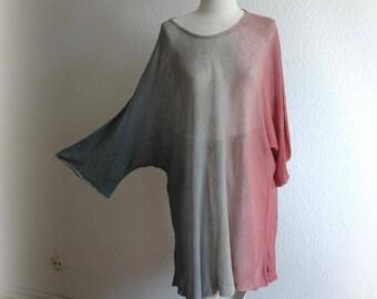 LINEN Asymmetrical Tunic , Knitted Hand -Dyed ,Handmade Tunics, Kimono Sleeve ,Natural Clothing ,Eco Friendly, Plus Size
