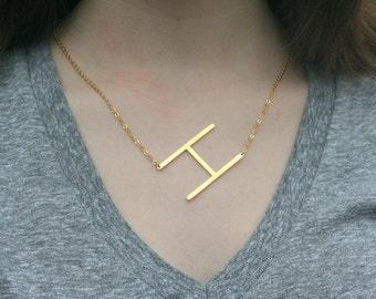 Large Initial Necklace,Sideways Intial Necklace,Gold Initial Necklace ,Custom Letter Necklace,Alphabet Necklace