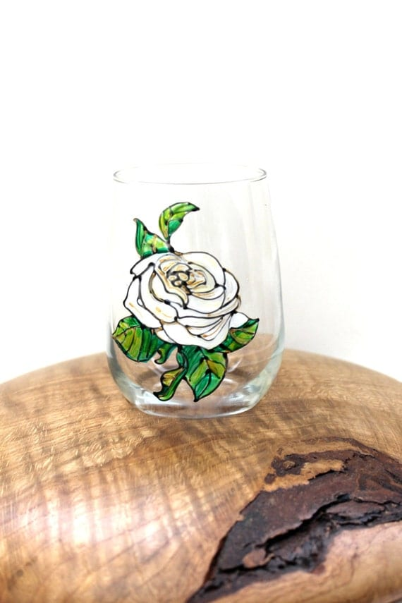 White Rose Wine Glass, Hand Painted Wine Glasses, Rose Wine Glass, Wine Glasses Painted, Vintage Rose, Wine Gift