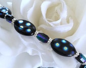 Medical Alert Bracelet Black and Blue Peacock stone with Black and Blue iridescent crystals
