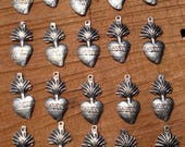 MIlagro Hearts 20 Antiqued Silver Sacred Hearts Mexican Charms Ex Votos Great For Weddings  Celebrations