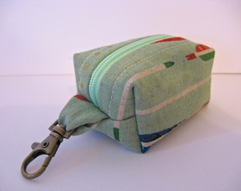 Tiny Zippered Fabric Boxy Keychain Bag Coin Purse Wallet in Sage Green Arrow Print Chevron
