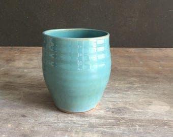 Stoneware Tumbler, Handmade Turquoise Blue Cup