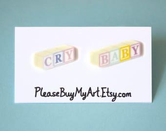 Cry Baby Blocks Pastel Stud Earrings