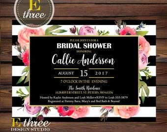 Bridal Shower Invitation - Modern Black and White Stripes and Floral Shower Invite - Gold Foil Wedding Shower Invitations