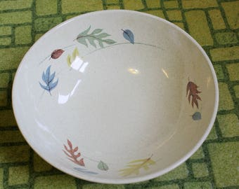 "Vintage 1950s Franciscan Autumn Pattern Serving Bowl 9"" MCM Earthenware Fall Leaves Retro Dining Housewares"