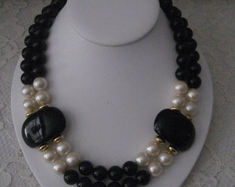 CLASSIC BLACK & WHITE Holiday Necklace - Beautiful Closure - Bold and Beautiful - Make a statement!