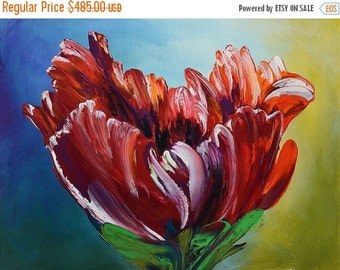70%Off & Free Shipping Painting ORIGINAL Colorful painting flower impasto Textured painting Modern painting bright colors red canvas paintin