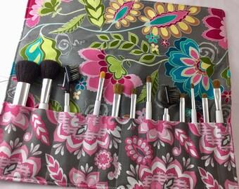MakeUp Brush Holder Grey Makeup Brush Roll Pink Makeup Brush Organizer  Makeup Brush Bag - Makeup Brush Case Riley Blake Fantine Damask Grey