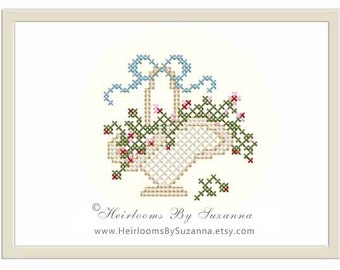 INSTANT Download - Victorian Flower Basket with Bow - Orginal Machine Cross Stitch  - Machine Embroidery Design - Floral - 4 x 4 - HBS-401