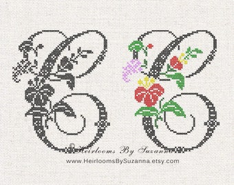 Large Antique Floral Monogram - Machine Cross Stitch Embroidery - Tropical Flower Initial - Cross Stitch Font - Floral Font C - HBS-61-C