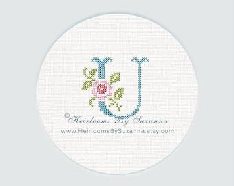 """Antique Rose Monogram, Machine Cross Stitch Initial, Floral Font, Machine Embroidery, Decorative Font, Block Letter """"U"""" - HBS-ROSEMNGR-U"""