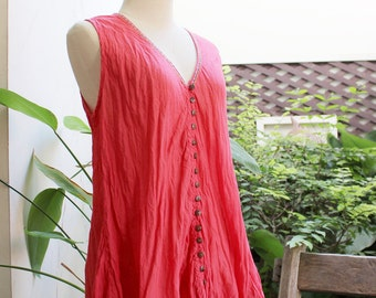 Comfy Roomy V Sleeveless Top - Peachy Pink