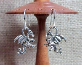Silver Rearing Dragon Dangle Earrings - Dangles Drops Dragons Sterling Silver Hooks